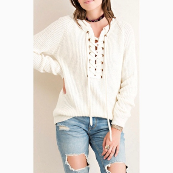 bff7fb8358e Entro Bailey Beige Lace Up Sweater💕